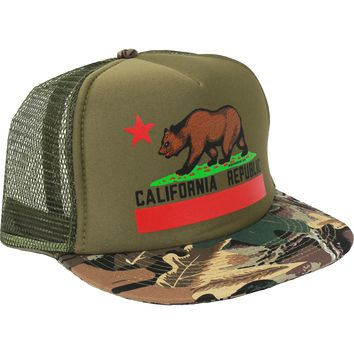 California Republic State Flag Snapback Hat On Military Camo - Flat Bill