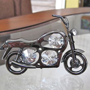 Motorcycle Ornament Suncatcher with 6 Swarovski prisms, Hematite Look Finish