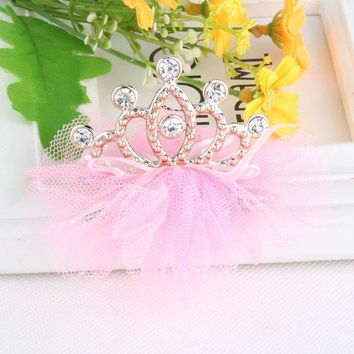 Hot Sale Baby Tiaras Hair Accessories Ribbon Bow Knot Net Yarn Hollow Crown Hair Ornaments Hairpins Rhinestone  Hairclips