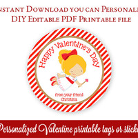 Printable Valentines Tags, Cupid Valentine's Day Tags, Personalized Valentines Stickers, Class Valentines, Editable PDF with Adobe Reader