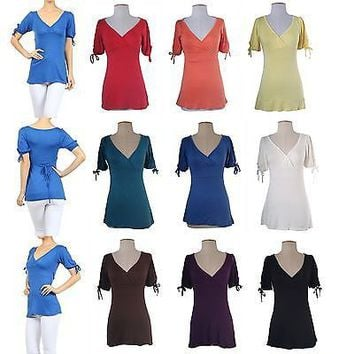 Solid Plain Sexy Deep V Neck Short Tied Sleeve Babydoll Tunic Shirt Top Dress