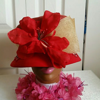 Gorgeous Spring/Summer Red and Tan Dress Hat, Spring Tea Hat, Church Hat, Kentucky Derby Hat