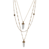 Hexagon Natural Stone Pendant Layering Necklace