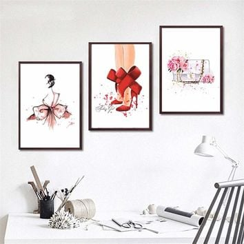 Sexy Girls Red Lips Fashion Bag Canvas Painting Modern Oil Painting Wall Art Print Poster For Woman Bedroom Makeup Room No Frame