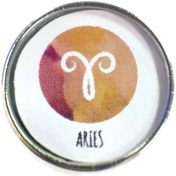 Aries Zodiac Sign Art Horoscope Symbol 18MM - 20MM Charm for Snap Jewelry New Item