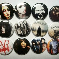 "Black Veil Brides 1"" Pinback Button Set. Andy Sixx Biersack Metal Ronnie Radke"