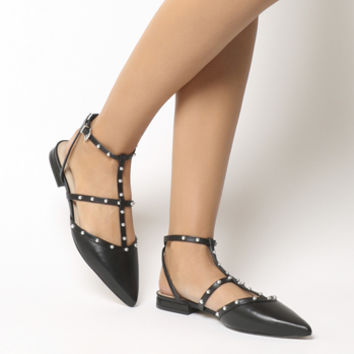 Office Figtree Studded Point Flats Black Leather - Flats