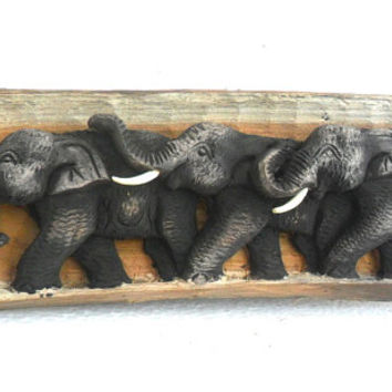"Wood Carving Elephant Hand Carved sculpture Elephants Natural Tree trunk Art Wall Hanging Home Decor / Gift 13""X5.7"""