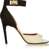 Givenchy - Shark Lock nubuck and textured-leather sandals in beige and black