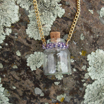 Beaded Aroma / Oil / Perfume / Prayer Bottle Necklace in Lavender & Purple