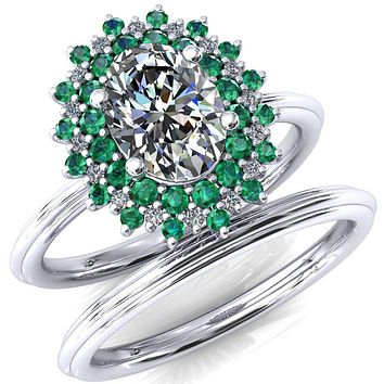 Eridanus Oval Moissanite Cluster Diamond and Emerald Halo Wedding Ring ver.3