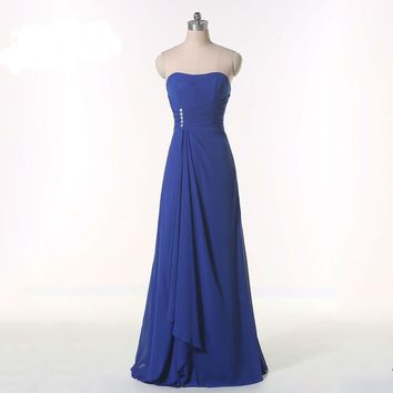 New A-line Strapless Blue Chiffon Bandage Dress Formal Prom Dresses
