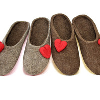 Felted Wool Shoes Red Heart, Handmade House Shoes, Organic Felt Slippers, Wool Shoes, Boiled Wool Slippers, Womens Slippers, Gifts for Her