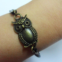 antique bronze retro style owl adjustable bracelet by sevenvsxiao