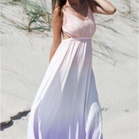 Ombre maxi dress with open back