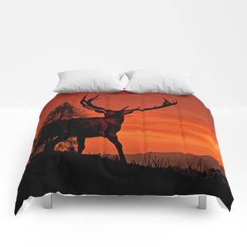 Deer on a hill Comforters by Pirmin Nohr