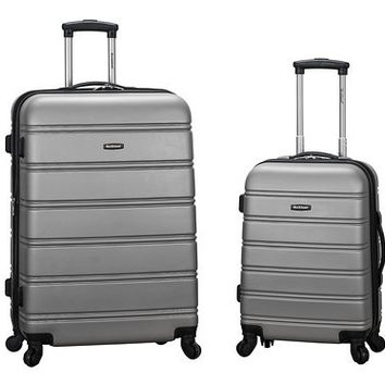 "F225-SILVER 20"", 28"" 2Pc Expandable Spinner Luggage Set"