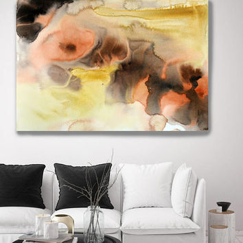 "Watercolor Coastal Abstract 99. Contemporary Abstract Yellow Brown Orange Black Canvas Art Print up to 72"" by Irena Orlov"