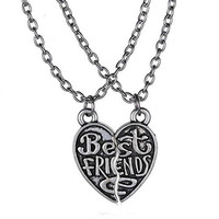 "Basket Hill Watches, Silver Tone ""Best Friends"" 2 Half Heart Necklaces"
