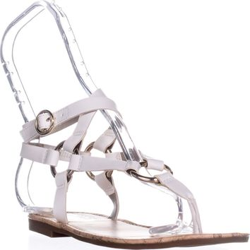 Circus by Sam Edelman Bree Flat Gladiator Sandals, Bright White, 6 US / 36 EU