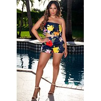 Sunny Paradise Strapless Floral Print Ruffled Crop Top and Shorts 2 Piece Set