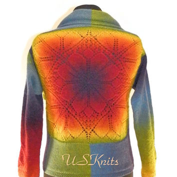 Hand knitted multicolored jacket with lace back