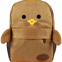 Khaki Cartoon Duck Pattern Double-strap Backpack