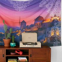 Santorini View Tapestry- Pink One