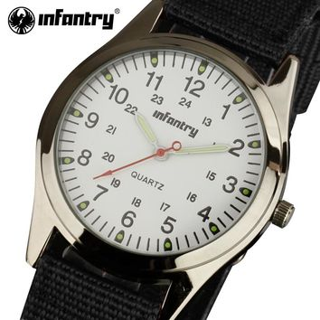 INFANTRY Men Quartz Watches Durable Nylon Strap Wristwatches Aviator Military Casual Style 24 Hours Display Clock Relojes Hombre