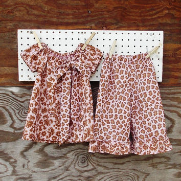 Baby Girl Fall  Dress top and Ruffled Pants, Brown and Tan pink, Bow, Thanksgiving,  12, 18, months and 2 T size