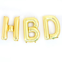 Happy Birthday Banner Gold Silver Letter Balloon Banner Gold Foil Mylar Letter Balloons HBD Balloon Banner Birthday Party Decorations Decor