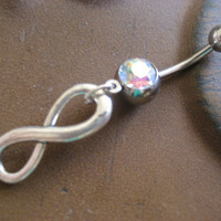 Belly Button Jewelry- Infinity Sign Forever Symbol Opal Navel Ring Piercing Bar Barbell Charm Dangle