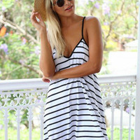 Black and White Striped V-neck Spaghetti Strap Backless A-line Mini Dress