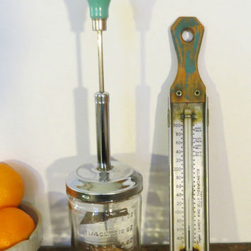 Vintage Mid-Century Kitchen Turquoise Nut Chopper and Candy Thermometer Shabby Chic Retro Farmhouse