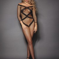 Long Sleeve Cut-Out Bodystocking