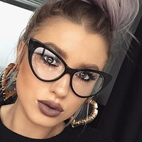 Cat Eye Clear Glasses Myopia Clear Frame Glasses Women Sexy Cateye Spectacle Frame Clear Lens Optical Glasses Lunette Femme