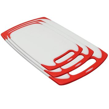 Evelots Non-Slip Kitchen Cutting Board Set, Set of 3 Assorted Sizes, Red