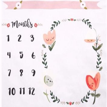 Baby Monthly Milestone First Year Baby Milestone Backdrop Blanket  Photo Prop - CC401