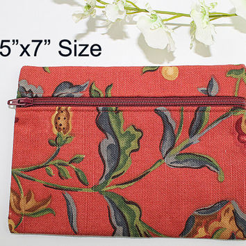 Makeup Bag or Zipper Pouch, Dark Red Jacobean Floral Print, ZS103