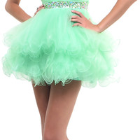 Mint Green Timeless Tulle One Shoulder Dress - Unique Vintage - Homecoming Dresses, Pinup & Prom Dresses.