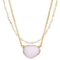 Moonstone/Crystal Drusy Natesa Necklace, Pendant Necklaces