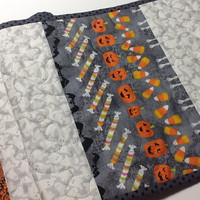 Quilted Halloween Table Runner, Ghosts and Bats Table Topper, Quiltsy Handmade