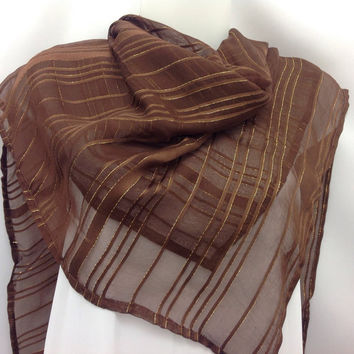 Brown Square Scarf, Womens Scarf, Holiday gift, New Years shawl, Gift for Mother, Gift for coworker, under 30 gift, New Year gift