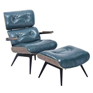 Eama Eames Inspired Lounge Chair And Ottoman Dark Teal Leatherette
