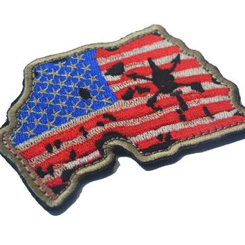 Custom United States Map with US Flag patch biker Embroidered morale  military badge  tactical patches hook  for cap vest