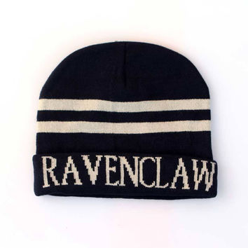 Harry Potter Ravenclaw Knitted Stripped Beanie Preppy Costume Halloween Christmas Gift Blue & White Cuffed Skully Hat