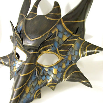 Blue and Gold Leather Dragon Mask