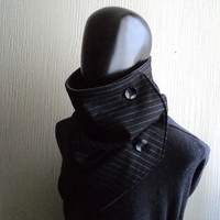 Men scarf. Extra Wide, Black wool 100%. Trendy, modern, chunky  and cozy. READY TO SHIP.