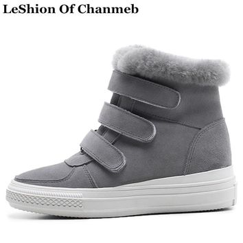 Fashion Platforms High Top Shoes Girl Sneakers Women Real Fur Snow Boots Casual Shoes Woman Black Gray Fur Line Ankle Boots 2018