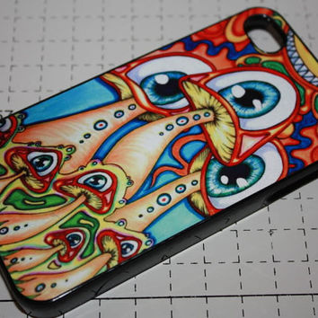 Custom Printed Visionary psychedelic mushroom Apple iphone Cartoon 4 4s 5 5s 5c 6 6 plus case cover